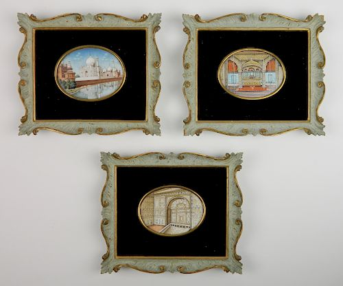 3 Persian hand-painted on ivory miniatures