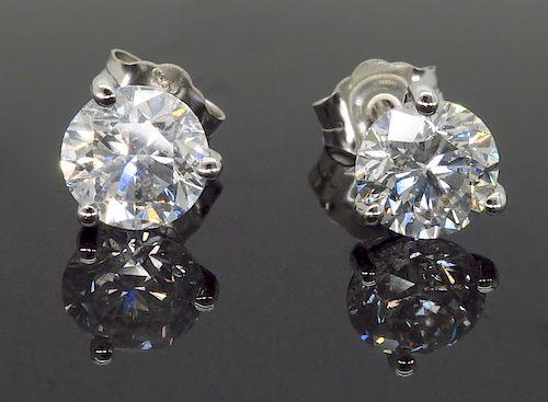14K White Gold 1.64CTW Diamond Earrings
