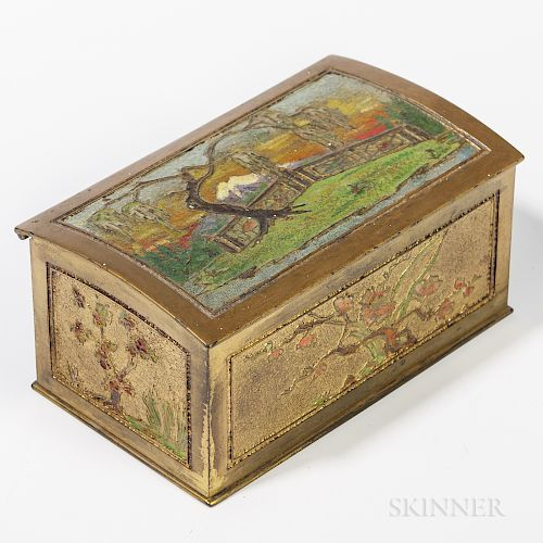 Tiffany Studios Bronze Dore and Enamel Box