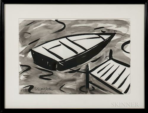 Tom Slaughter (American, 1955-2014)  Rowboat at Dock