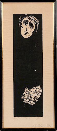 Leonard Baskin (American, 1922-2000)  Mourning Woman