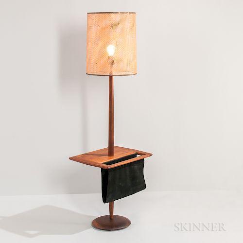 Walnut Floor Lamp with Magazine Sling