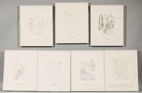 Mino Maccari (Italian, 1898-1989) Suite of Seven Framed Etchings: Gli Scampoli, La Drappeggiata, I Veli Pietosi, L'Assortimento, Stoff