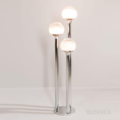 Mazzega Three-stem Chrome Floor Lamp with Murano Globes