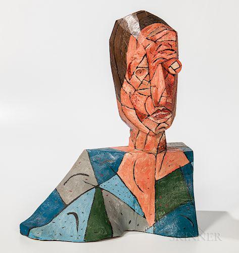 Italo Scanga (American, 1939-2001) Untitled Polychrome Bust