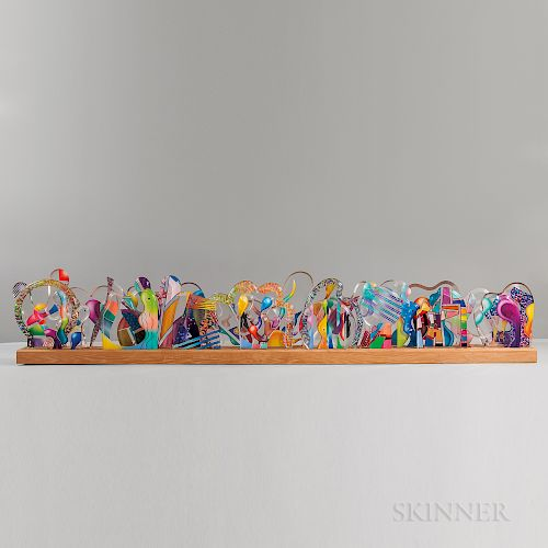 Yankel Ginzburg (American, b. 1945) Transom Symphony No. 1   Multi-piece Acrylic Sculpture and Two Renderings