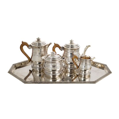 French silver 4-piece coffee & tea set and a tray