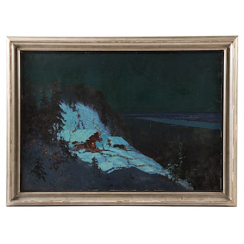 Russian 20th Century. Dacha in Snow, oil