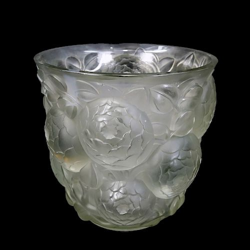 "Large Rene Lalique ""Oran"" Frosted Art Glass Vase"