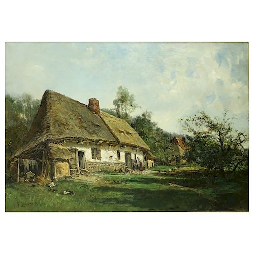 "Henri Guilmard, French (b.1849) O/C ""Country Home"""
