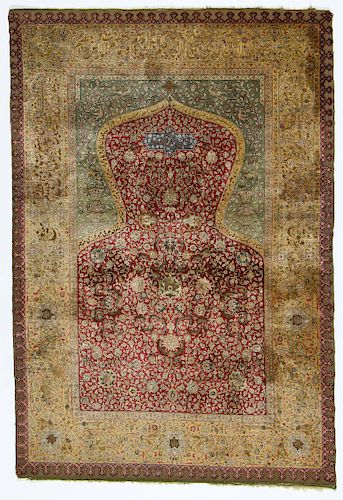 "A Rare Early Zareh Penyamin Kum Kapi Silk and Gold Brocade Prayer Rug, Northwest Anatolia, circa 1905, 4'3"" x 6'2"""
