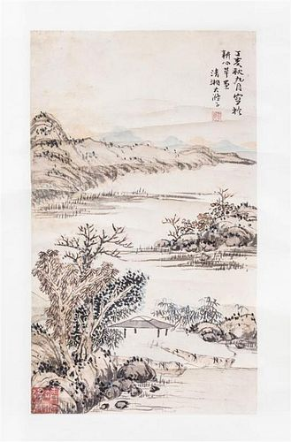 After Shi Tao, (1642-1718), Riverscape Scene