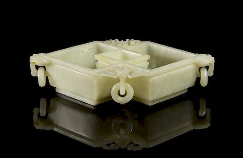 A Jade Double Lozenge Brush Washer Width 9 1/2 inches.