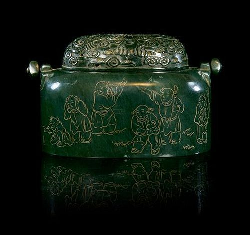 A Spinach Jade Hand Warmer Height 3 1/2 x width 6 inches.