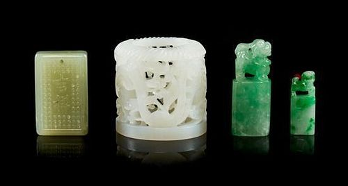 A Group of Three Jade Carvings Height of tallest 1 3/8 inches.