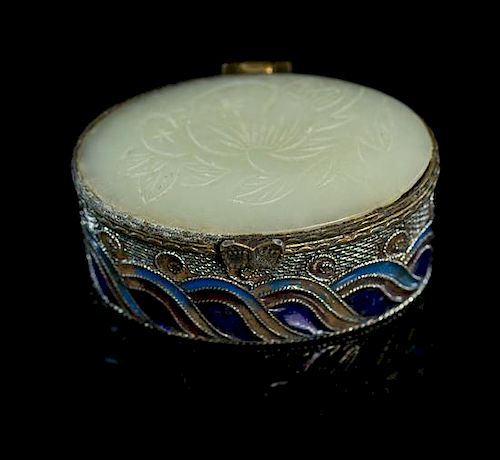A Jade Mounted Enameled Filigree Pill Box Width 2 1/2 inches.