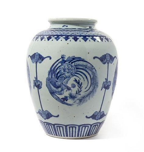 A Blue and White Porcelain Jar Height 14 inches.
