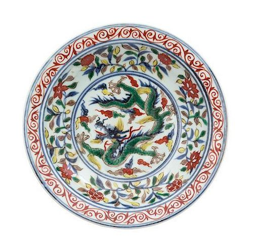 A Wucai Porcelain Plate Diameter 7 1/2 inches.