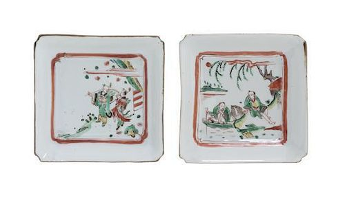 A Set of Two Polychrome Enamel Porcelain Dishes Width 5 5/8 inches.