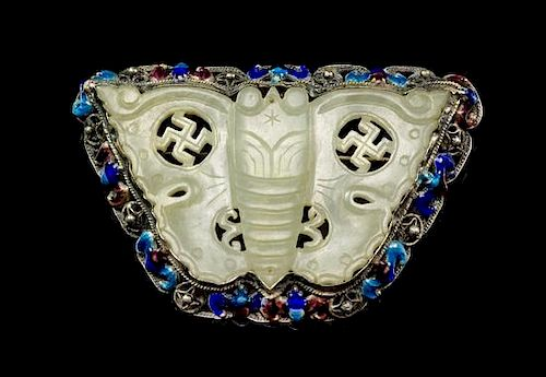 A Silver Filigree and Enamel Mounted Jade Pin Width 3 inches.