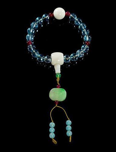 Aquamarine Prayer Beads, Shouchuan Diameter 4 inches.