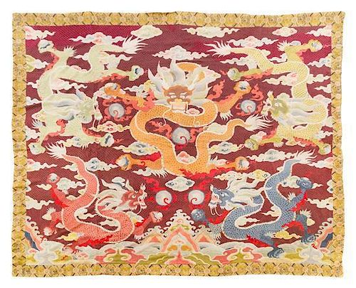 An Embroidered Silk Rectangular Panel Height 69 1/2 x width 80 1/2 inches.