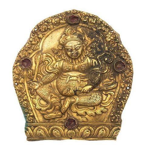 A Tibetan Gilt Bronze Plaque Height 8 3/4 x width 8 inches.