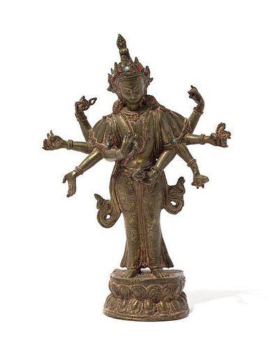 A Gilt Bronze Figure of a Bodhisattva Height 13 inches.