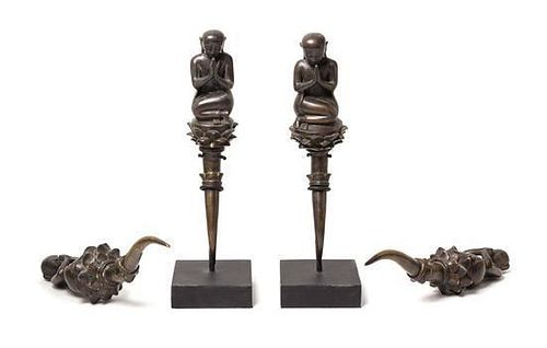 * Four Burmese Bronze Figures Height 13 1/2 inches.