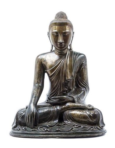 A Burmese Bronze Figure of Buddha Height 20 1/2 inches.