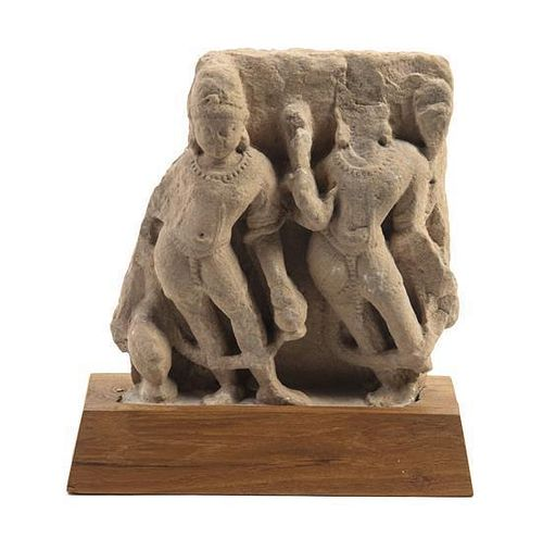 An Indian Stone Architectural Fragment Height 8 3/4 inches.