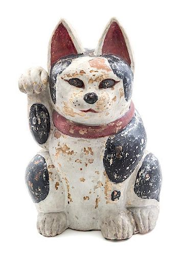 A Japanese Polychrome Decorated Beckoning Cat Height 22 inches.