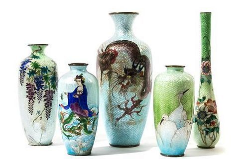 Five Japanese Cloisonne Vases Height of tallest 9 1/2 inches.