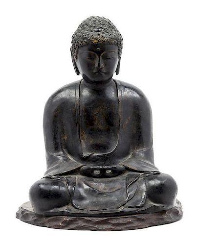 * A Bronze Figure of Buddha Sakyamuni Height 16 x width 12 inches.