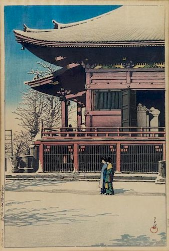 Hasui Kawase, (1883-1957), Temple in Snow (2 works)