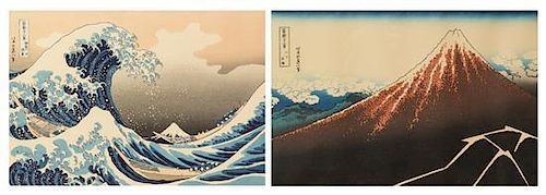 * Katsushika Hokusai, (1760-1849), Kanagawaoki nami-ura (Under the Waves off Kanagawa) and Sanka haku-u (Rainstorm beneath the S