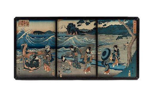 * Utagawa Hiroshige, (1797-1858), Geishas in Riverscape Scene (2 triptych)