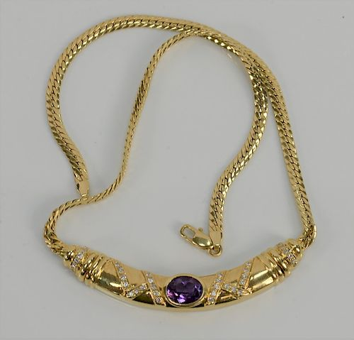 18 karat gold necklace with flat link chain and center amethyst with small diamonds.  15 3/4 inches