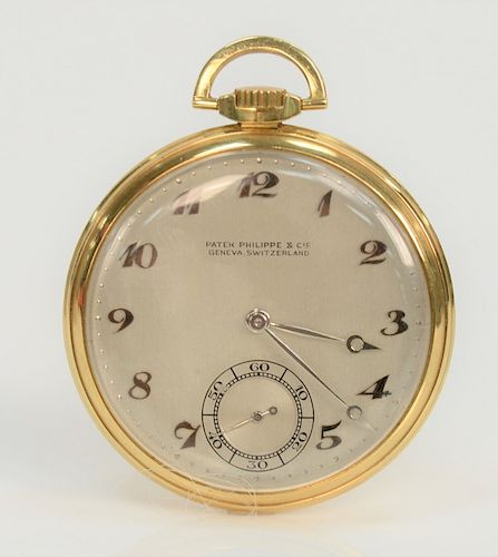 Patek Philippe open face pocket watch with second hand, monogrammed.  44.5 mm