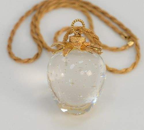 Steuben glass strawberry crystal pendant with 18 karat gold top and 14 karat meshed chain, in original box.  length 22 1/2 inches, c...