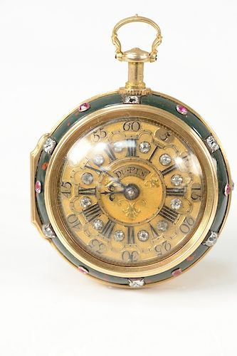Paul Dupin Bloodstone gold, diamond, pocket watch,  pair case having bloodstone bowl with rubies and diamonds mounted around clock e...