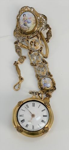 Rich Templer pair case pocket watch,  having 10 karat gold case mounted with porcelain plaque, touch marks on interior white enamele...
