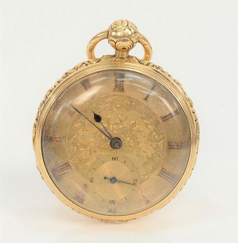 18 karat gold open face pocket watch,  etched flower gold face, repousse sides, back marked: 18 E.J. Shield G.  50mm