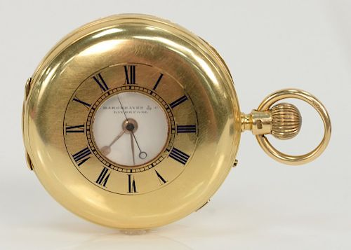 J. Hargreaves & Co. Liverpool pocket watch 18 karat gold Half Hunter,  having plain case with blue enameled outer dial, opening to...