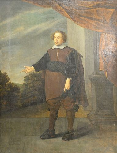 """Dutch full length portrait,  oil on board,  Man with Landscape Background,  17th/18th century,  cradled panel,  31"""" x 24 1/2"""""""