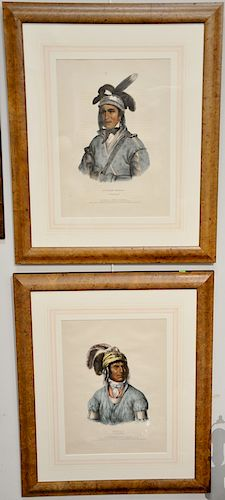 Set of four hand colored Indian lithographs,  (1) Daniel Ric & James Clark, Ledagie, A Creek Chief;  (2) E.C. Biddle, Bowen Opeothle...