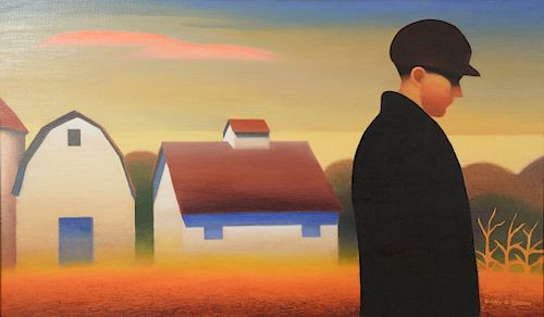 """Gary Ernest Smith (b. 1942),  oil on canvas,  Boy on the Farm,  signed lower right: Gary E. Smith,  24"""" x 40""""   Provenance:  Estate ..."""