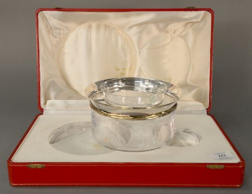 Cartier silver mounted crystal caviar bowl and glass dish in fitted box.  bowl: height 3 1/2 inches, diameter 7 1/8 inches  dish: he...