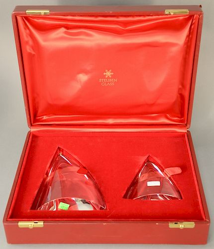 """Two part Steuben lot """"Close to the Wind"""" by Lloyd Atkins, two-piece crystal sculpture, model 1068, in original box.  height 8 inches..."""