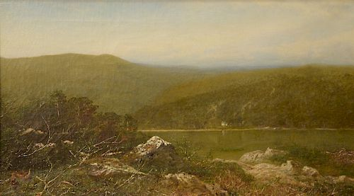 Alexander Helwig Wyant (1836-1892),  oil on canvas,  Autumn Landscape with Cottage on Pond,  signed lower right: A.H. Wyant,  old pa...